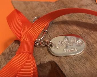 Personalised Hand & Foot Print Silver Keyring 'Love'