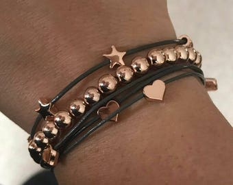 3 Bracelet Combo! Rose Gold Stars, Hearts & Beads