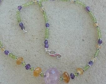 Amethyst Citrine Peridot Necklace,  Amethyst  Necklace, Birthstone Jewelry, February  Birthday Jewelry