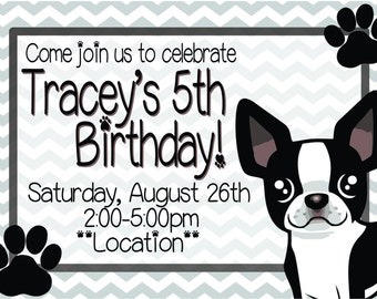 Boston Terrier Kids Birthday Invitation