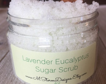 Lavender Eucalyptus sugar scrub, exfoliating scrub, body scrub, hand scrub, Mother's Day gift