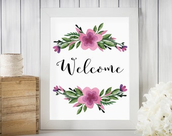 Floral Welcome Print, Instant Download, Home Decor Print, Foyer Decor