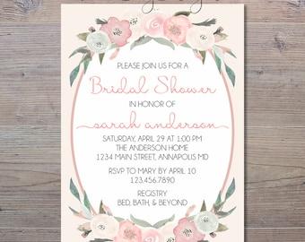 Floral Bridal Shower Invitation, Watercolor Shower Invitation, Bridal Shower Invite, Shower Invitation, Blush Bridal Shower