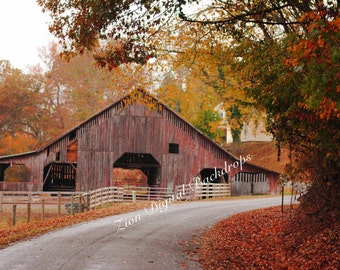 Fall Foliage Barn Digital Backdrop
