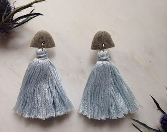 Light Sky Blue Half-moonTassel Earrings