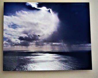 Rain Storm over the Ocean Metal Print