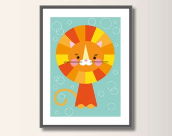 Lion, Nursery Poster, Nursery Decor, Nursery Wall Art, Nursery Decor, Scandinavian Poster, Minimalist Print