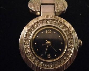 Ladies vintage Allude watch. Link bracelet, rhinestone bezel. FMDAL593