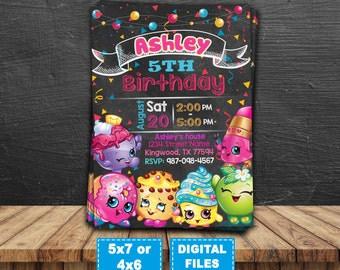 Shopkins invitation, shopkins birthday invitation, shopkins party, shopkins printable invite, shopkins chalkboard, shopkins digital card.