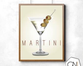 Martini print, martini, drink print, kitchen decor, kitchen wall decor, kitchen art, kitchen wall art, bar wall decor, bar wall art