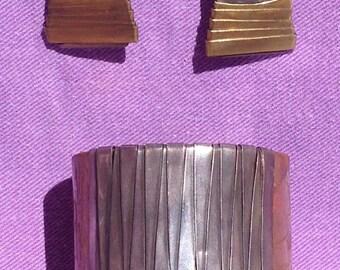 Vintage cuff bracelet and earrings