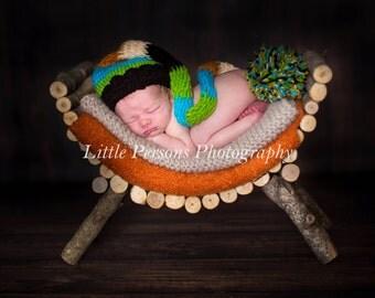 Crochet Newborn Baby Boy Elf Hat, Blue Green Black Orange Stripes Beanie Handmade Photo Photography Prop Shower Gift