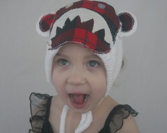 Red Plaid//Crocheted Children's Bigfoot Hat//
