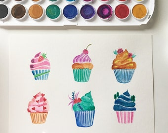 Cupcake Watercolor Painting Original Art Piece