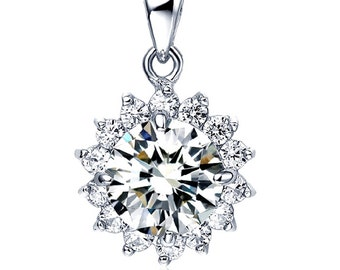 Sterling silver CZ star pendant charm for necklace