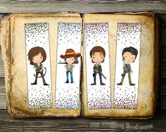 Printable Walking Dead Bookmark Set | Daryl Dixon | Carl | Rick Grimes | Glenn | Zombies | Walkers | Instant Download | Comic