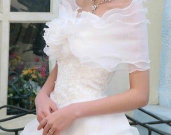 Bridal Silk White Sateen Rose Detail Wrap Cover Up Shawl