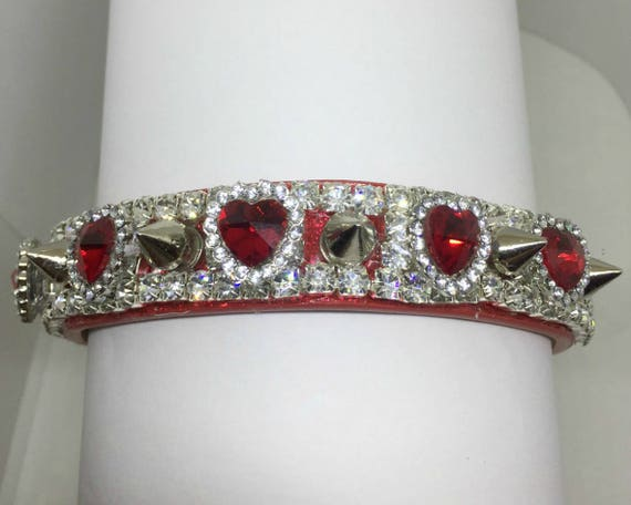 "Cutie Pie Pet Collars TM ~Spikes & Ruby Red Hearts~ Wide 3/4""~Upscale~ Crystal Diamante Rhinestone Pet Dog PU Leather Collar USA"