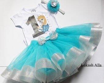 Frozen Birthday Outfit- Princess Elsa from Frozen- Elsa tutu outfit-Princess Elsa Disney-Tutu Set-Birthday Set Includes Top-Elsa Tutu Dress