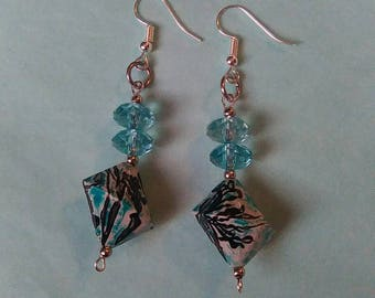 Blue Unusual Bicone & Faceted Rondelle Bead Silver Plated Fashion Earrings Handmade