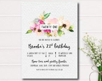 Twenty First Birthday Invitations. Printable invitations, Floral Birthday Invites. Floral Baby Shower,Bridal Shower invites, garden shower