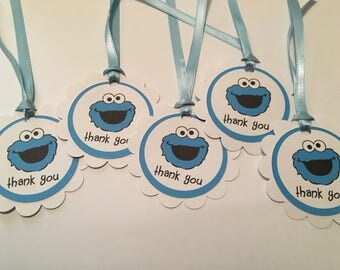 12 Sesame Street Cookie Monster Party Thank You Tags