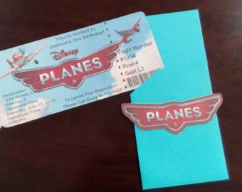 Planes boarding pass birthday  invitations