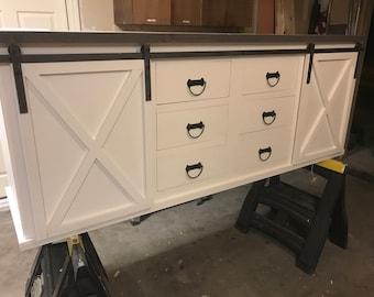 Large Sliding Barn Door Vanity with Drawers