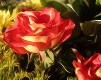 Digitally Enhanced 8x10 Photo Print Roses