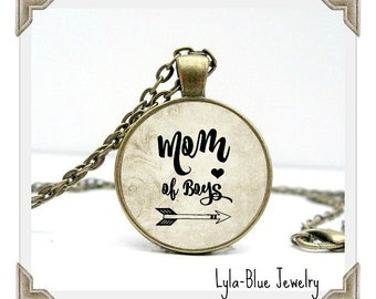 MOM OF BOYS Charm Pendant, Mom of Boys, mother of sons , gift for Mom