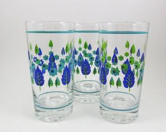 Water Drinking Glasses Blue Floral Design Vintage 1960s Set of 3