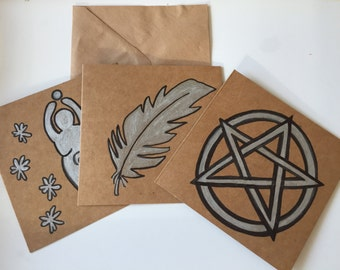 Set of 3 cards // Valentine // Valentine's cards // hand drawn card // feather card // Mother Goddess card // Pentacle card // pagan cards