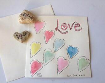 Love Hearts card // Unique Watercolour Card // Birthday Card // Anniversary Card // Valentine's Card // Wedding Card // Easter