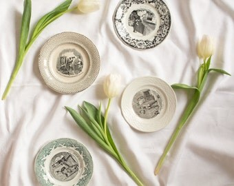 French vintage set of 4 porcelain ceramic plates