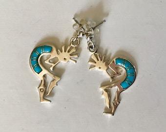 Kokopelli Sleeping Beauty Turquoise and Sterling Silver Earrings