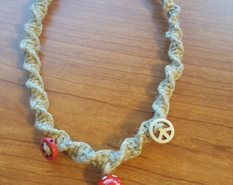 Spiral  knotted hemp necklace with beads