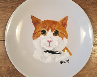 Hand Painted Cat Plate-Personalised Cat Gift