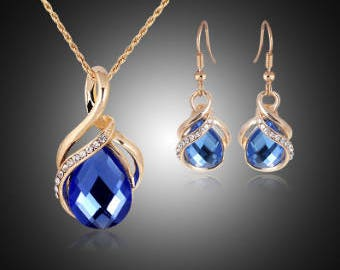 Jewelry sets New Fashion KC rose Gold Filled opal Crystal Necklace Earring Wedding  jewellery Set for women