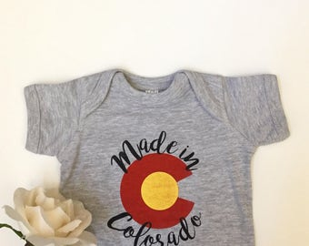 MADE IN COLORADO Hand Screen Printed Baby Bodysuit