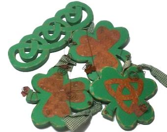 Vintage Wood Copper Finish Metal Irish Clover Celtic Knot Wall Hanging Home Decor Saint Patricks Day