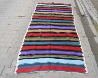 4.7x9.6 Ft Vibrant colorful striped decorative Turkish kilim rug