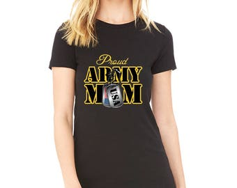 Mother's Day Gift Proud Army Mom Military support out troops US Army Birthday Christmas gift T Shirt