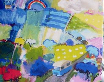 Wall Art/ Landscape with Camper Van Canvas Print/Caravanette Picture/Landscape with Rainbow