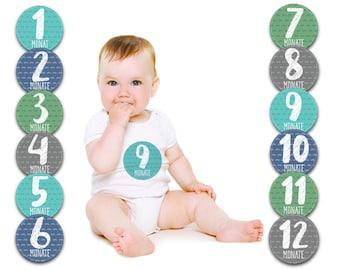 Paul & Gretchen Baby Monatsaufkleber für das 1. Lebensjahr (Deutsch) - Little Mister