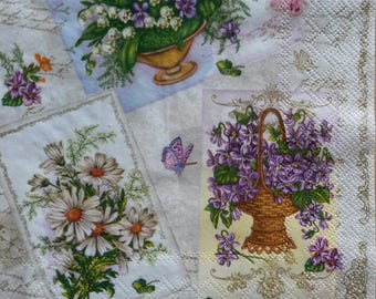4 Napkins for Decoupage, Floral Napkins, Camomile Napkin, Lunch Napkins, Printed Paper Napkins, Decoupage Napkins, (MIXED FLOWERS)