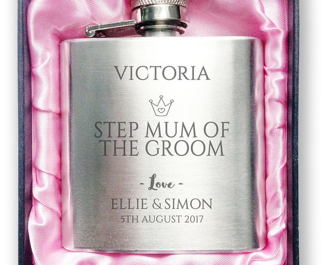 Personalised engraved STEP MUM of the groom stainless steel hip flask wedding thank you gift idea, handbag sized + presentation box - 3CR9