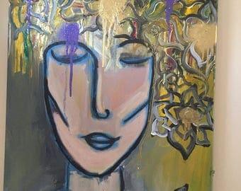 Goddess. Original 16x20 Acrylic combination