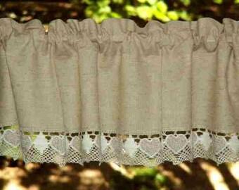 Short curtain/valance linen natural lace heart