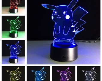Pokemon LED Lamps - Pikachu, Charmander, Squirtle, Bulbsaur, Snorlax, Eevee, Sylveon, Charizard, Night Light Home Living Decor Gift