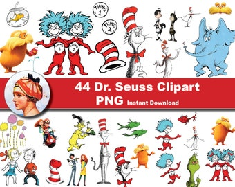 44 x Dr seuss printable Digital Clipart Graphic Instant Download- the cat in the hat - thing 1 thing 2 Scrapbooking, Instant Download
